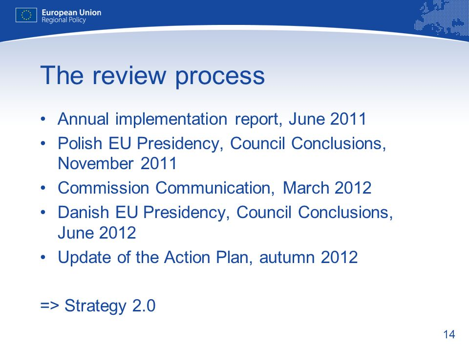 14 The review process Annual implementation report, June 2011 Polish EU Presidency, Council Conclusions, November 2011 Commission Communication, March