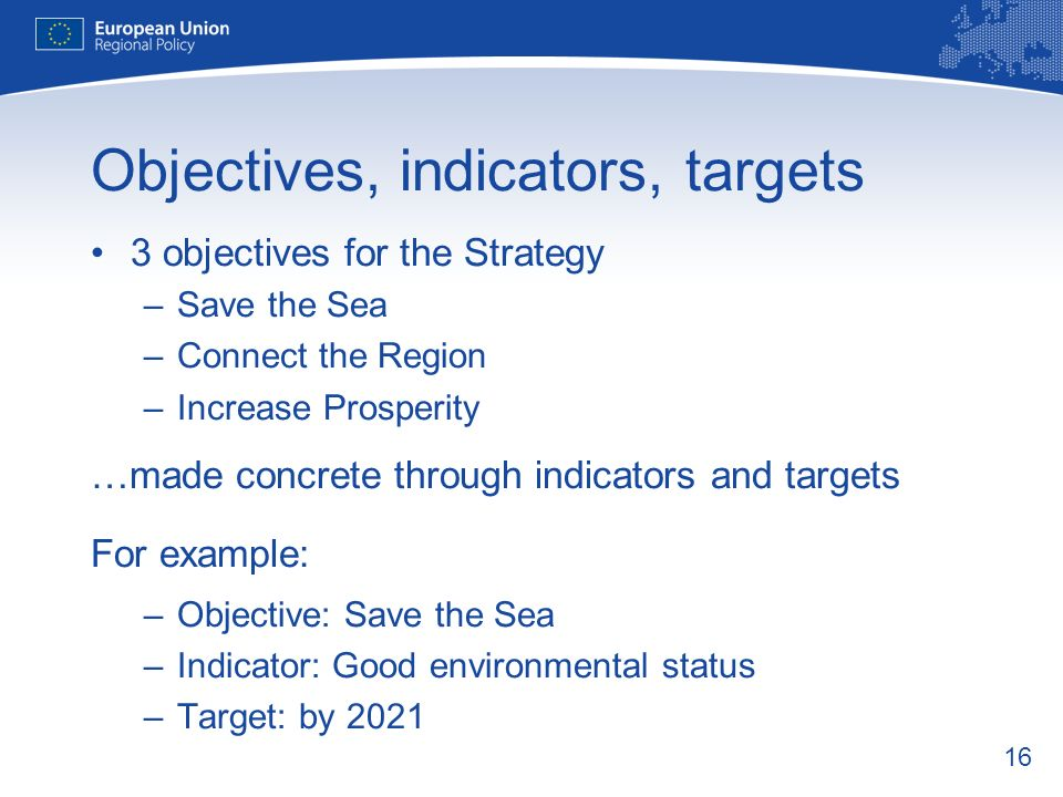 16 Objectives, indicators, targets 3 objectives for the Strategy –Save the Sea –Connect the Region –Increase Prosperity …made concrete through indicat