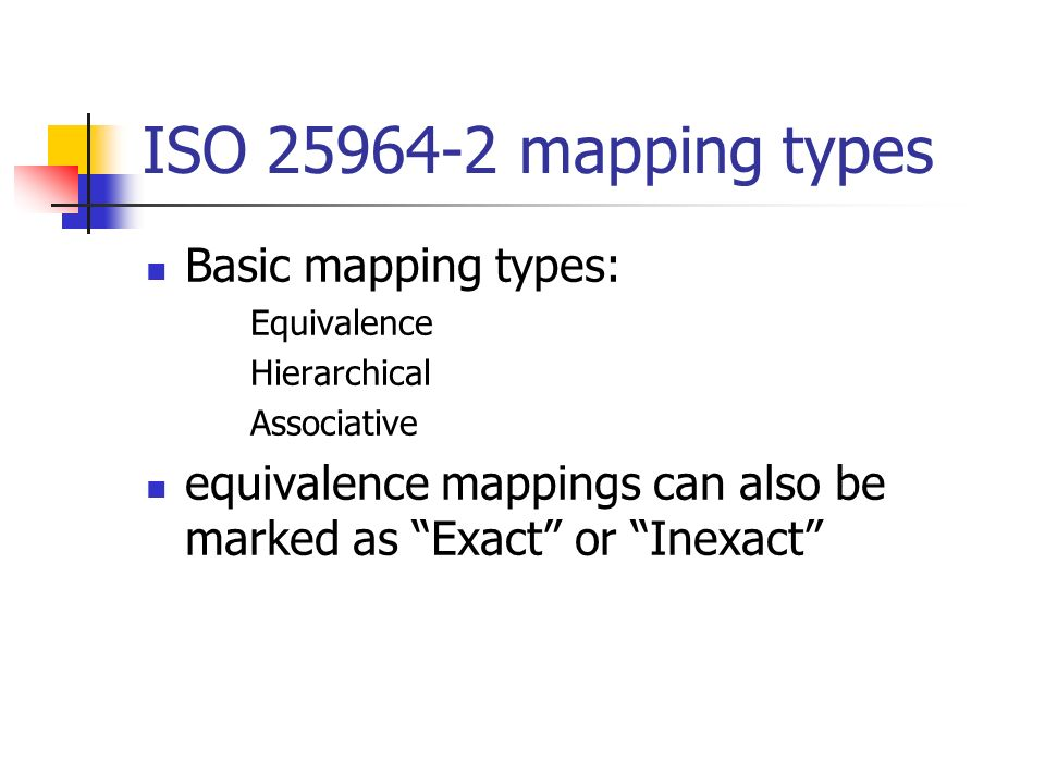 ISO 25964-2 mapping types Basic mapping types: Equivalence Hierarchical Associative equivalence mappings can also be marked as Exact or Inexact
