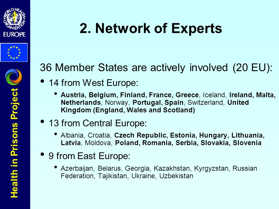 Health in Prisons Project 2. Network of Experts 36 Member States are actively involved (20 EU): 14 from West Europe: Austria, Belgium, Finland, France