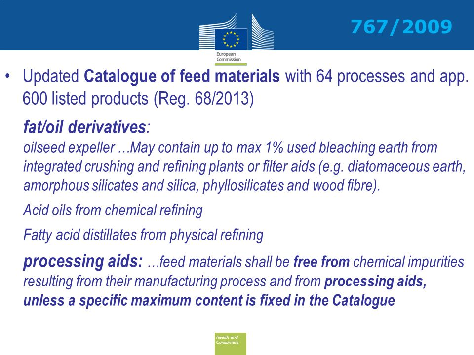 Health and Consumers Health and Consumers Updated Catalogue of feed materials with 64 processes and app.