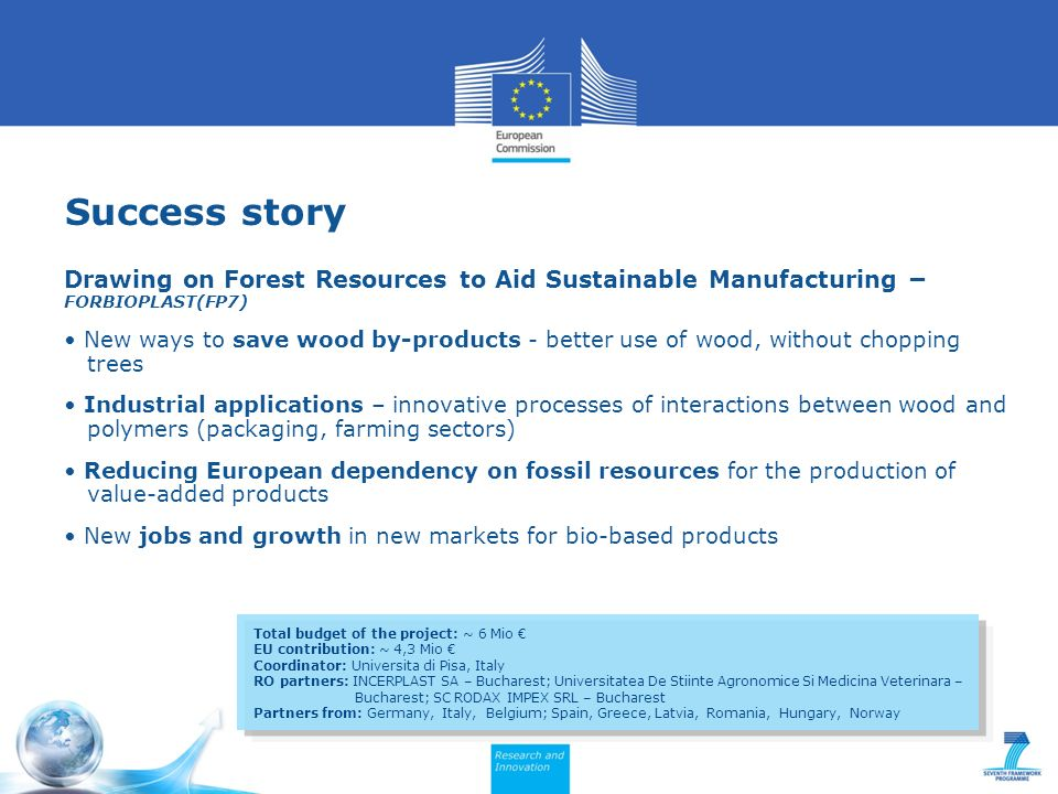 Success story Drawing on Forest Resources to Aid Sustainable Manufacturing – FORBIOPLAST(FP7) New ways to save wood by-products - better use of wood, without chopping trees Industrial applications – innovative processes of interactions between wood and polymers (packaging, farming sectors) Reducing European dependency on fossil resources for the production of value-added products New jobs and growth in new markets for bio-based products Total budget of the project: ~ 6 Mio EU contribution: ~ 4,3 Mio Coordinator: Universita di Pisa, Italy RO partners: INCERPLAST SA – Bucharest; Universitatea De Stiinte Agronomice Si Medicina Veterinara – Bucharest; SC RODAX IMPEX SRL – Bucharest Partners from: Germany, Italy, Belgium; Spain, Greece, Latvia, Romania, Hungary, Norway