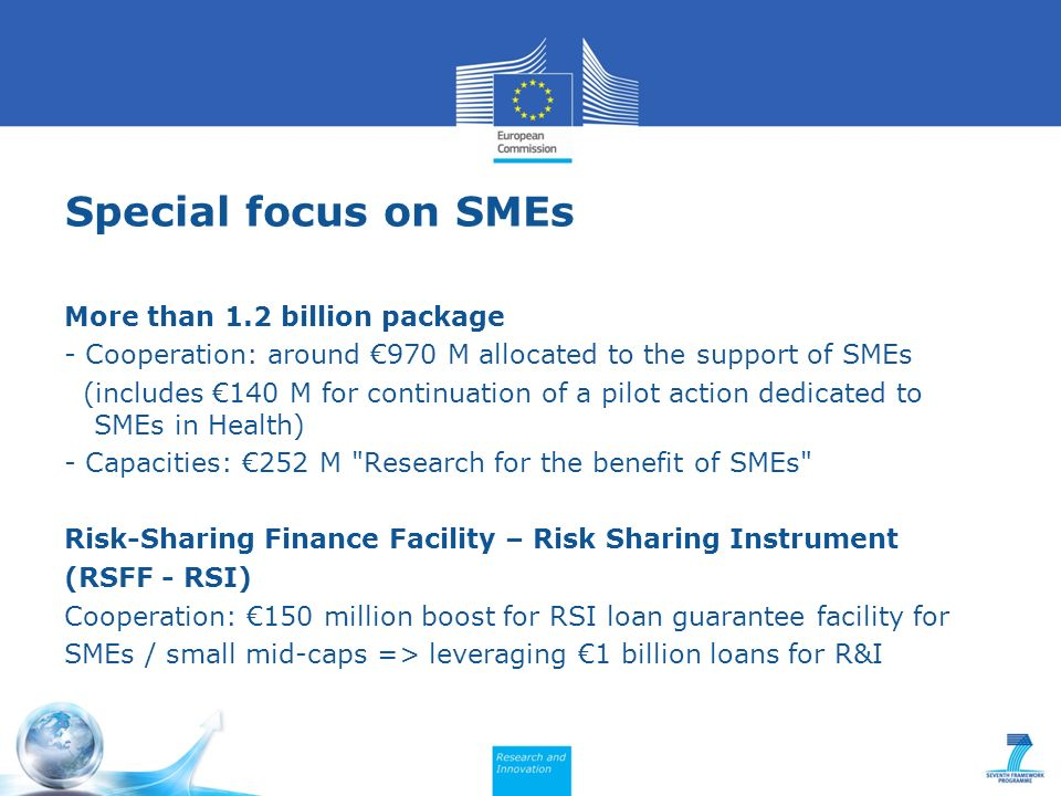 Special focus on SMEs More than 1.2 billion package - Cooperation: around 970 M allocated to the support of SMEs (includes 140 M for continuation of a pilot action dedicated to SMEs in Health) - Capacities: 252 M Research for the benefit of SMEs Risk-Sharing Finance Facility – Risk Sharing Instrument (RSFF - RSI) Cooperation: 150 million boost for RSI loan guarantee facility for SMEs / small mid-caps => leveraging 1 billion loans for R&I