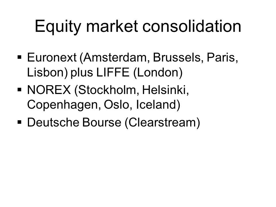 Equity market consolidation Euronext (Amsterdam, Brussels, Paris, Lisbon) plus LIFFE (London) NOREX (Stockholm, Helsinki, Copenhagen, Oslo, Iceland) D