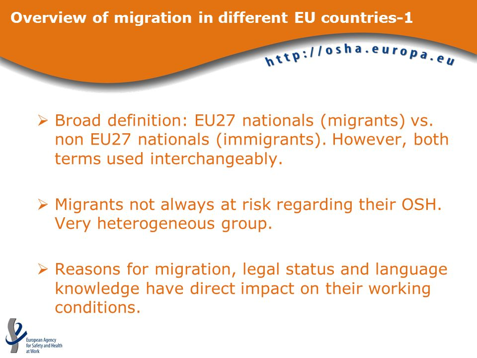 Overview of migration in different EU countries-1 Broad definition: EU27 nationals (migrants) vs.