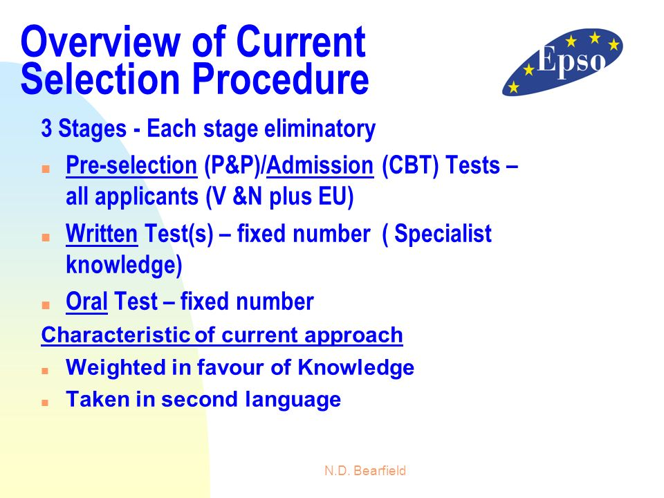 N.D. Bearfield Overview of Current Selection Procedure 3 Stages - Each stage eliminatory n Pre-selection (P&P)/Admission (CBT) Tests – all applicants
