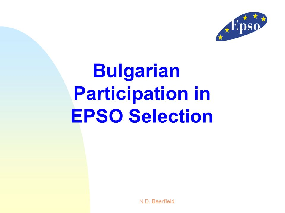 N.D. Bearfield Bulgarian Participation in EPSO Selection
