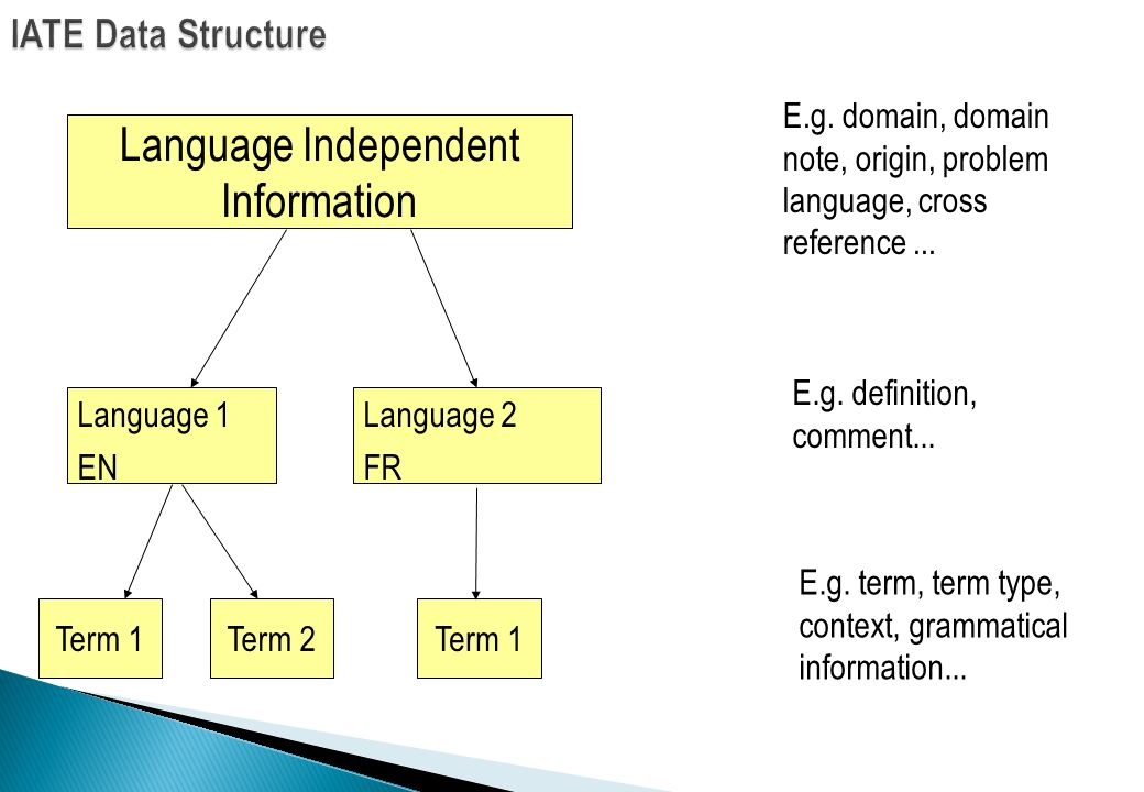 Language Independent Information IATE Data Structure Term 1Term 2Term 1 Language 1 EN Language 2 FR E.g. domain, domain note, origin, problem language