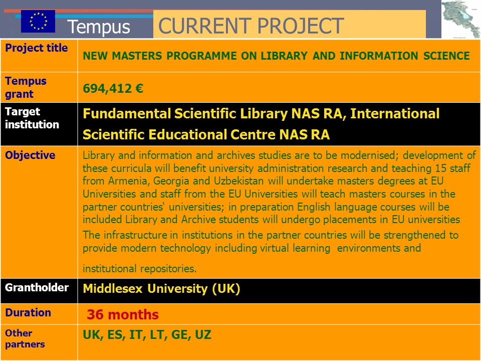 Tempus CURRENT PROJECT Project title NEW MASTERS PROGRAMME ON LIBRARY AND INFORMATION SCIENCE Tempus grant 694,412 Target institution Fundamental Scie
