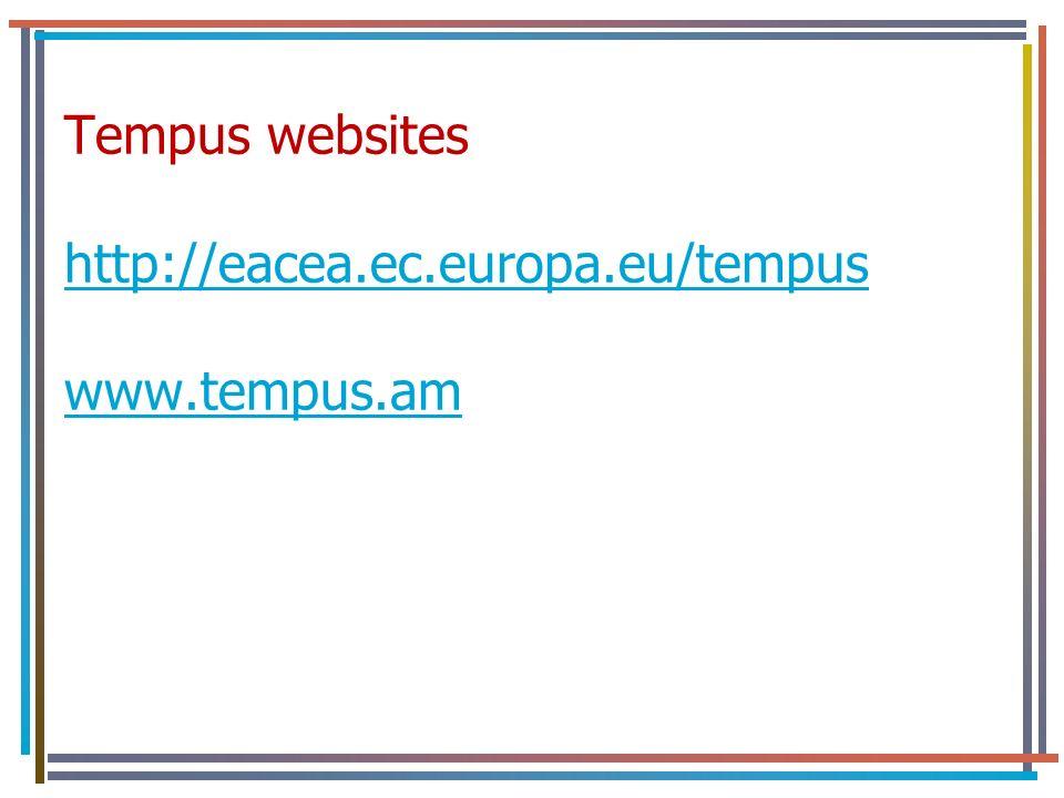 Tempus websites http://eacea.ec.europa.eu/tempus www.tempus.am http://eacea.ec.europa.eu/tempus www.tempus.am