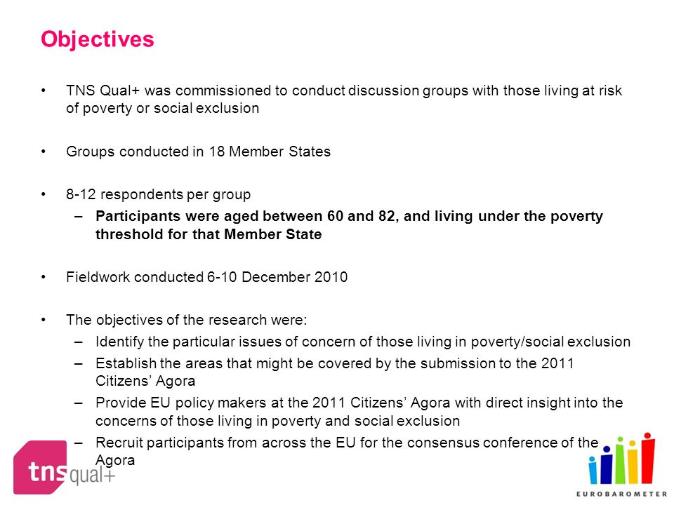 Objectives TNS Qual+ was commissioned to conduct discussion groups with those living at risk of poverty or social exclusion Groups conducted in 18 Member States 8-12 respondents per group –Participants were aged between 60 and 82, and living under the poverty threshold for that Member State Fieldwork conducted 6-10 December 2010 The objectives of the research were: –Identify the particular issues of concern of those living in poverty/social exclusion –Establish the areas that might be covered by the submission to the 2011 Citizens Agora –Provide EU policy makers at the 2011 Citizens Agora with direct insight into the concerns of those living in poverty and social exclusion –Recruit participants from across the EU for the consensus conference of the Agora