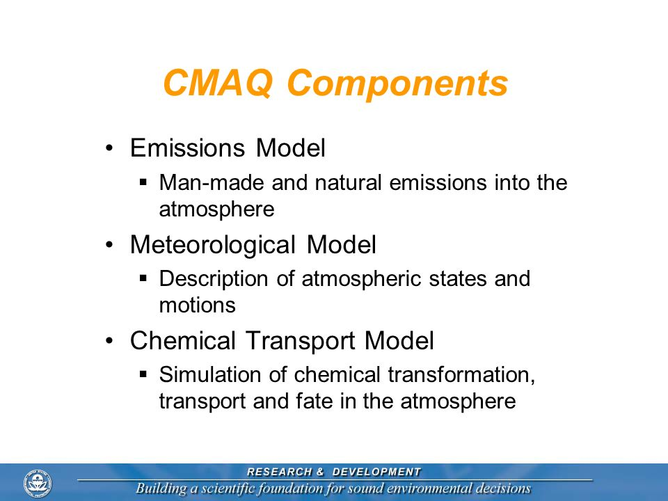 CMAQ Components Emissions Model Man-made and natural emissions into the atmosphere Meteorological Model Description of atmospheric states and motions