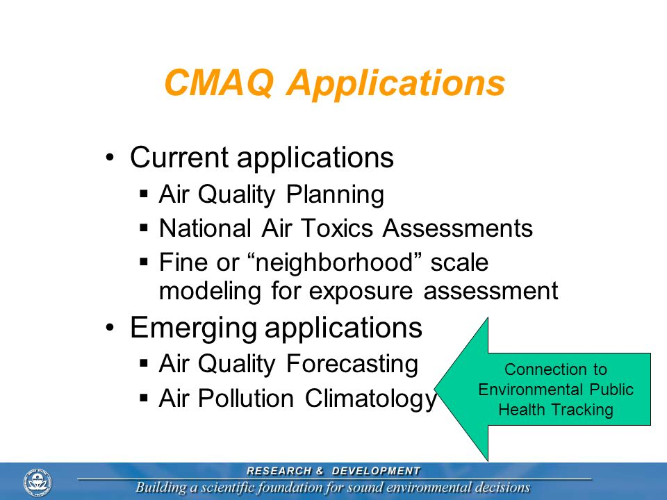CMAQ Applications Current applications Air Quality Planning National Air Toxics Assessments Fine or neighborhood scale modeling for exposure assessmen