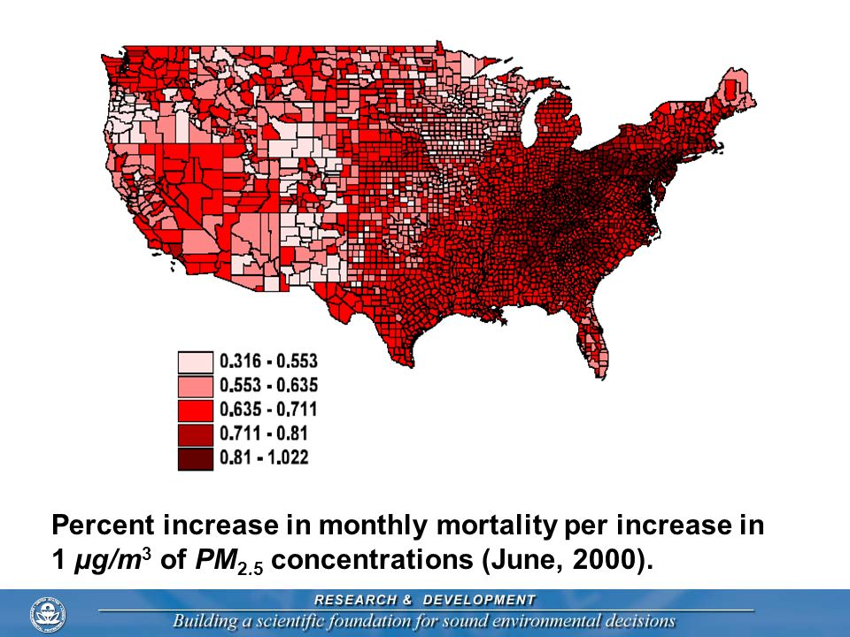 Percent increase in monthly mortality per increase in 1 µg/m 3 of PM 2.5 concentrations (June, 2000).