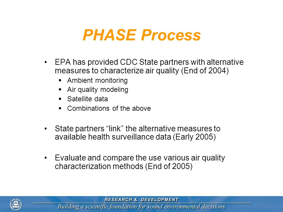 PHASE Process EPA has provided CDC State partners with alternative measures to characterize air quality (End of 2004) Ambient monitoring Air quality m