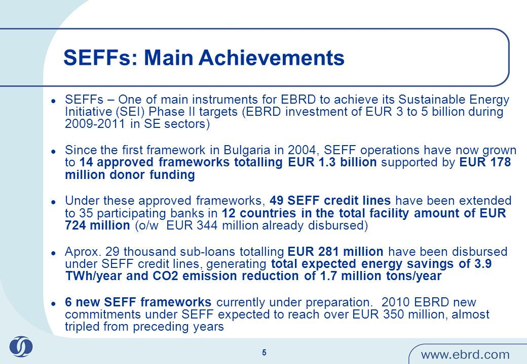 5 SEFFs: Main Achievements SEFFs – One of main instruments for EBRD to achieve its Sustainable Energy Initiative (SEI) Phase II targets (EBRD investment of EUR 3 to 5 billion during 2009-2011 in SE sectors) Since the first framework in Bulgaria in 2004, SEFF operations have now grown to 14 approved frameworks totalling EUR 1.3 billion supported by EUR 178 million donor funding Under these approved frameworks, 49 SEFF credit lines have been extended to 35 participating banks in 12 countries in the total facility amount of EUR 724 million (o/w EUR 344 million already disbursed) Aprox.