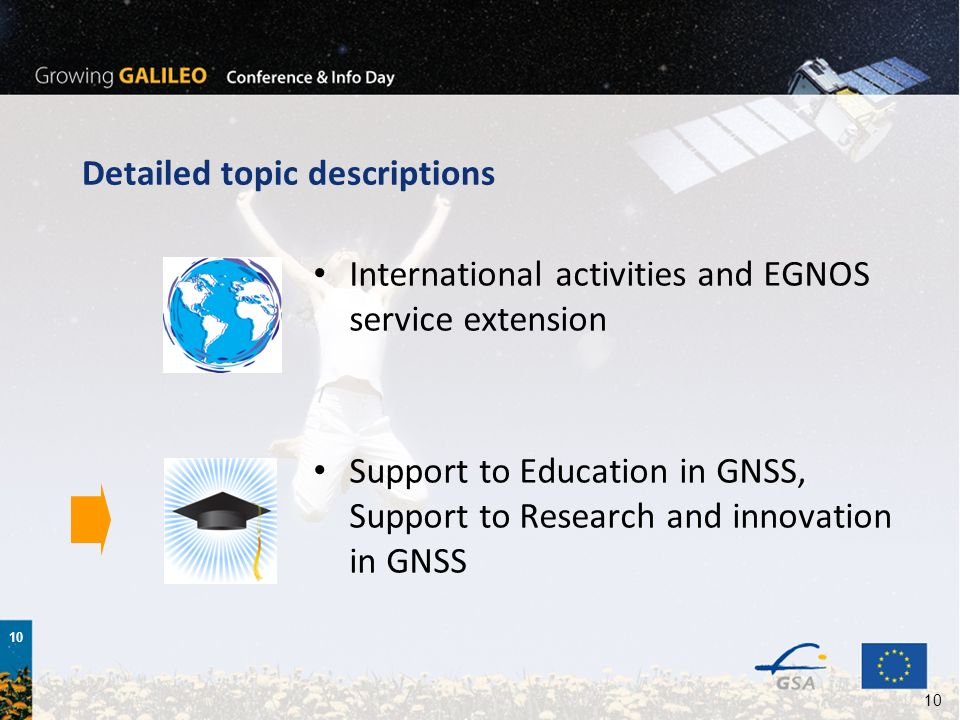 10 Detailed topic descriptions International activities and EGNOS service extension Support to Education in GNSS, Support to Research and innovation i