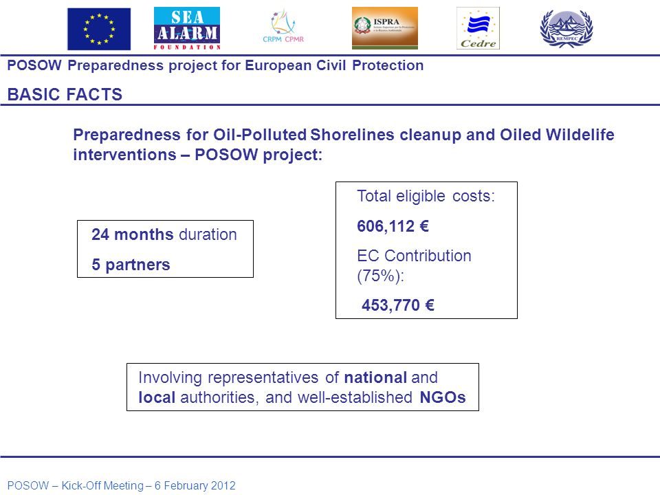 POSOW Preparedness project for European Civil Protection BASIC FACTS Preparedness for Oil-Polluted Shorelines cleanup and Oiled Wildelife intervention