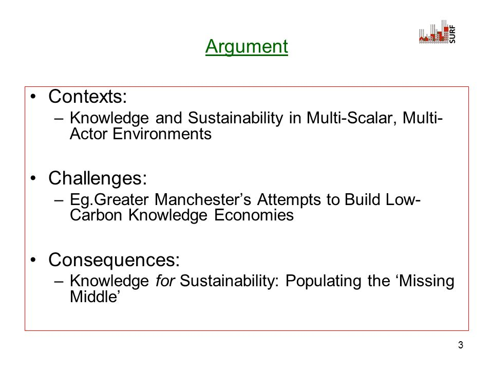 3 Argument Contexts: –Knowledge and Sustainability in Multi-Scalar, Multi- Actor Environments Challenges: –Eg.Greater Manchesters Attempts to Build Low- Carbon Knowledge Economies Consequences: –Knowledge for Sustainability: Populating the Missing Middle