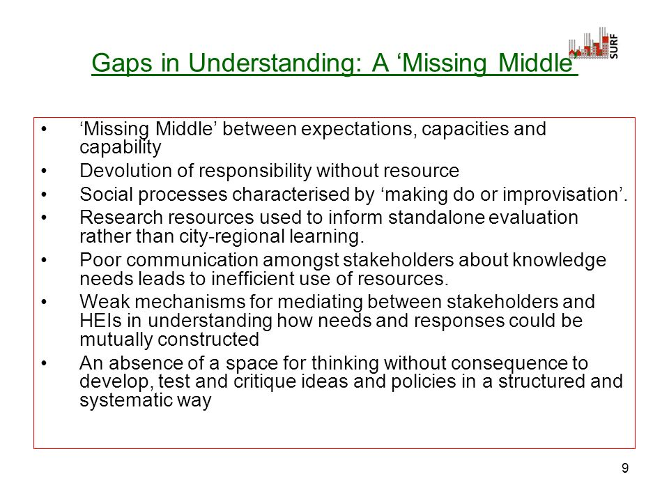 9 Gaps in Understanding: A Missing Middle Missing Middle between expectations, capacities and capability Devolution of responsibility without resource Social processes characterised by making do or improvisation.