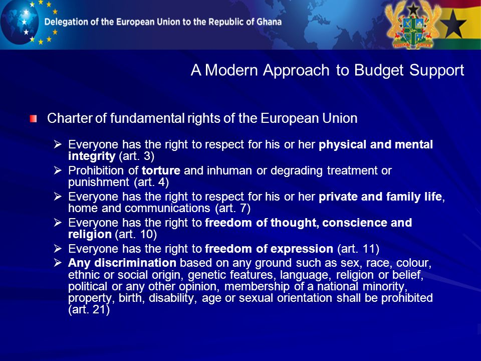 Charter of fundamental rights of the European Union Everyone has the right to respect for his or her physical and mental integrity (art.