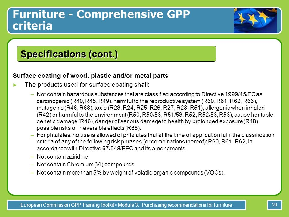European Commission GPP Training Toolkit Module 3: Purchasing recommendations for furniture 28 Surface coating of wood, plastic and/or metal parts The products used for surface coating shall: –Not contain hazardous substances that are classified according to Directive 1999/45/EC as carcinogenic (R40, R45, R49), harmful to the reproductive system (R60, R61, R62, R63), mutagenic (R46, R68), toxic (R23, R24, R25, R26, R27, R28, R51), allergenic when inhaled (R42) or harmful to the environment (R50, R50/53, R51/53, R52, R52/53, R53), cause heritable genetic damage (R46), danger of serious damage to health by prolonged exposure (R48), possible risks of irreversible effects (R68).