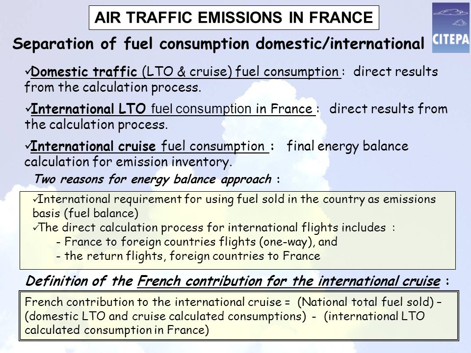 AIR TRAFFIC EMISSIONS IN FRANCE International LTO fuel consumption in France : direct results from the calculation process.