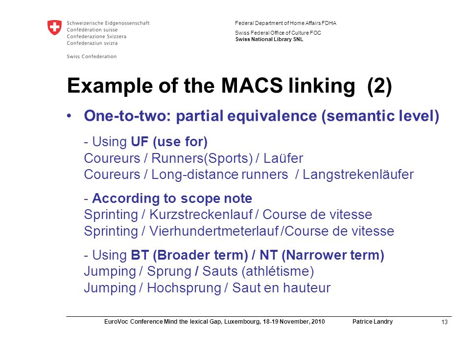 13 EuroVoc Conference Mind the lexical Gap, Luxembourg, November, 2010 Patrice Landry Federal Department of Home Affairs FDHA Swiss Federal Office of Culture FOC Swiss National Library SNL Example of the MACS linking (2) One-to-two: partial equivalence (semantic level) - Using UF (use for) Coureurs / Runners(Sports) / Laüfer Coureurs / Long-distance runners / Langstrekenläufer - According to scope note Sprinting / Kurzstreckenlauf / Course de vitesse Sprinting / Vierhundertmeterlauf /Course de vitesse - Using BT (Broader term) / NT (Narrower term) Jumping / Sprung / Sauts (athlétisme) Jumping / Hochsprung / Saut en hauteur