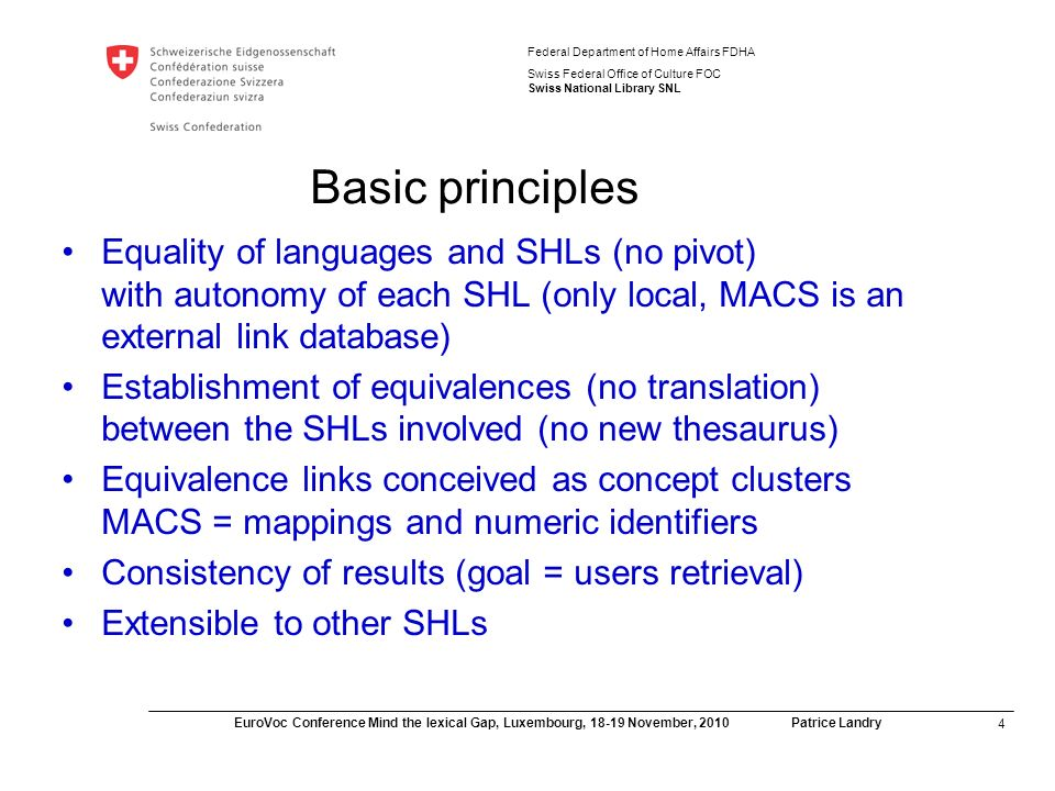 15 EuroVoc Conference Mind the lexical Gap, Luxembourg, 18-19 November, 2010 Patrice Landry Federal Department of Home Affairs FDHA Swiss Federal Office of Culture FOC Swiss National Library SNL Issues relating to ensuring quality of multilingual search results Disambiguation issue: single term can be associated with more than one topic Cultural and linguistic differences in semantic structure of controlled vocabularies (authority record) – non-symmetrical thesaurus / subject heading lists Cultural / subjective nature of subject indexing (choice of headings according to past practices and indexing rules)