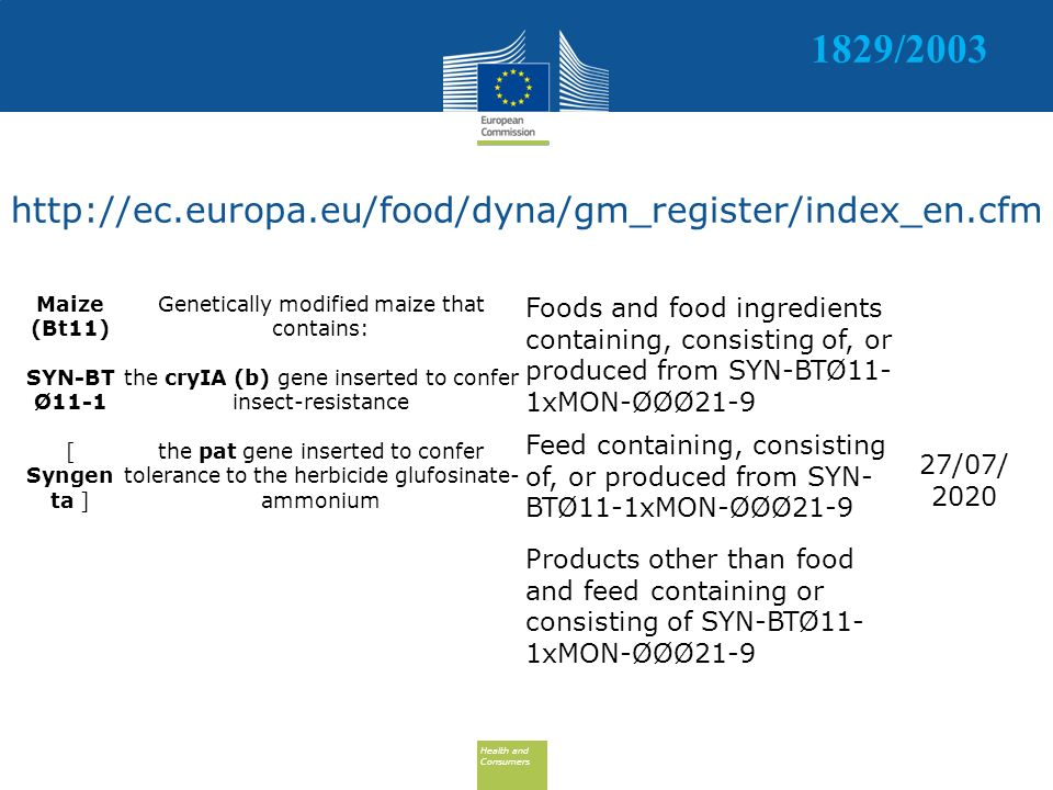 Health and Consumers Health and Consumers http://ec.europa.eu/food/dyna/gm_register/index_en.cfm Maize (Bt11) SYN-BT Ø11-1 [ Syngen ta ] Genetically modified maize that contains: the cryIA (b) gene inserted to confer insect-resistance the pat gene inserted to confer tolerance to the herbicide glufosinate- ammonium Foods and food ingredients containing, consisting of, or produced from SYN-BTØ11- 1xMON-ØØØ21-9 27/07/ 2020 Feed containing, consisting of, or produced from SYN- BTØ11-1xMON-ØØØ21-9 Products other than food and feed containing or consisting of SYN-BTØ11- 1xMON-ØØØ21-9 1829/2003