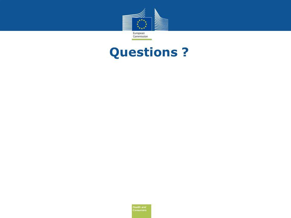 Health and Consumers Health and Consumers Questions ?