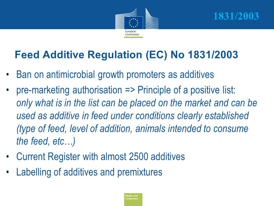 Health and Consumers Health and Consumers Feed Additive Regulation (EC) No 1831/2003 Ban on antimicrobial growth promoters as additives pre-marketing