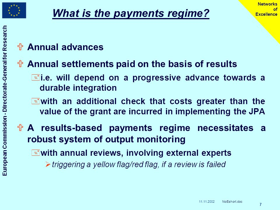 11.11.2002 European Commission - Directorate-General for Research NoEshort.doc 7 Networks of Excellence What is the payments regime.