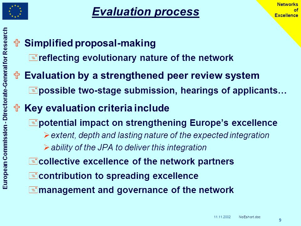 11.11.2002 European Commission - Directorate-General for Research NoEshort.doc 9 Networks of Excellence Evaluation process USimplified proposal-making +reflecting evolutionary nature of the network UEvaluation by a strengthened peer review system +possible two-stage submission, hearings of applicants… UKey evaluation criteria include +potential impact on strengthening Europes excellence extent, depth and lasting nature of the expected integration ability of the JPA to deliver this integration +collective excellence of the network partners +contribution to spreading excellence +management and governance of the network