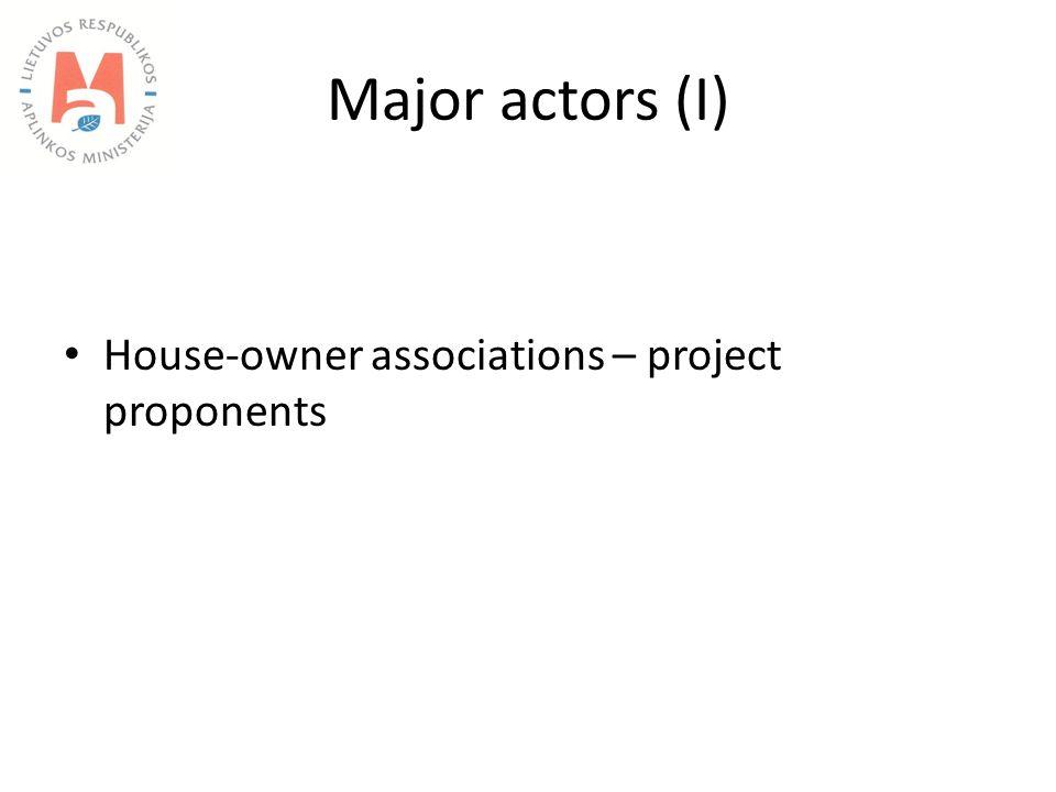 Major actors (I) House-owner associations – project proponents