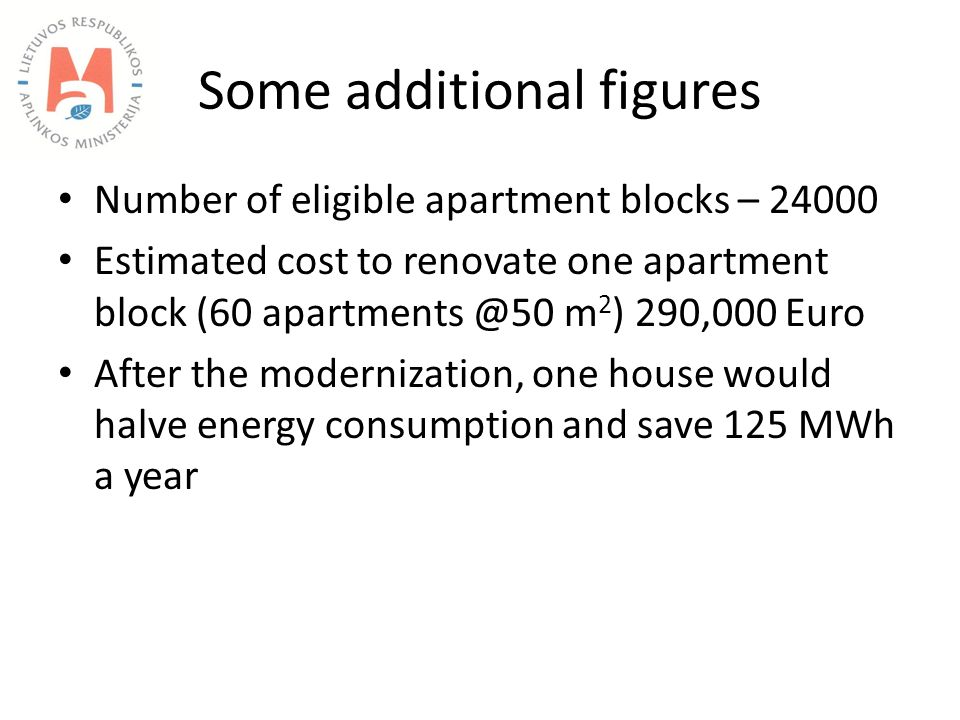 Some additional figures Number of eligible apartment blocks – 24000 Estimated cost to renovate one apartment block (60 apartments @50 m 2 ) 290,000 Euro After the modernization, one house would halve energy consumption and save 125 MWh a year