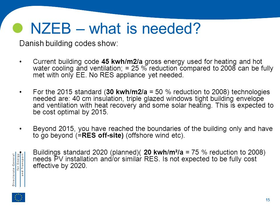 15 NZEB – what is needed? Danish building codes show: Current building code 45 kwh/m2/a gross energy used for heating and hot water cooling and ventil