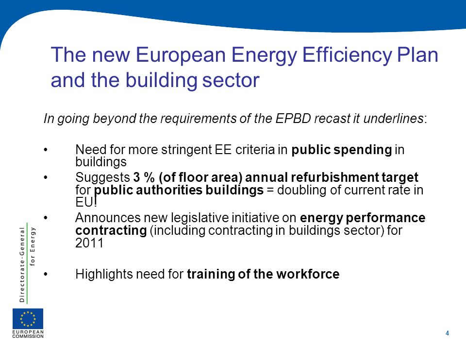 4 The new European Energy Efficiency Plan and the building sector In going beyond the requirements of the EPBD recast it underlines: Need for more str
