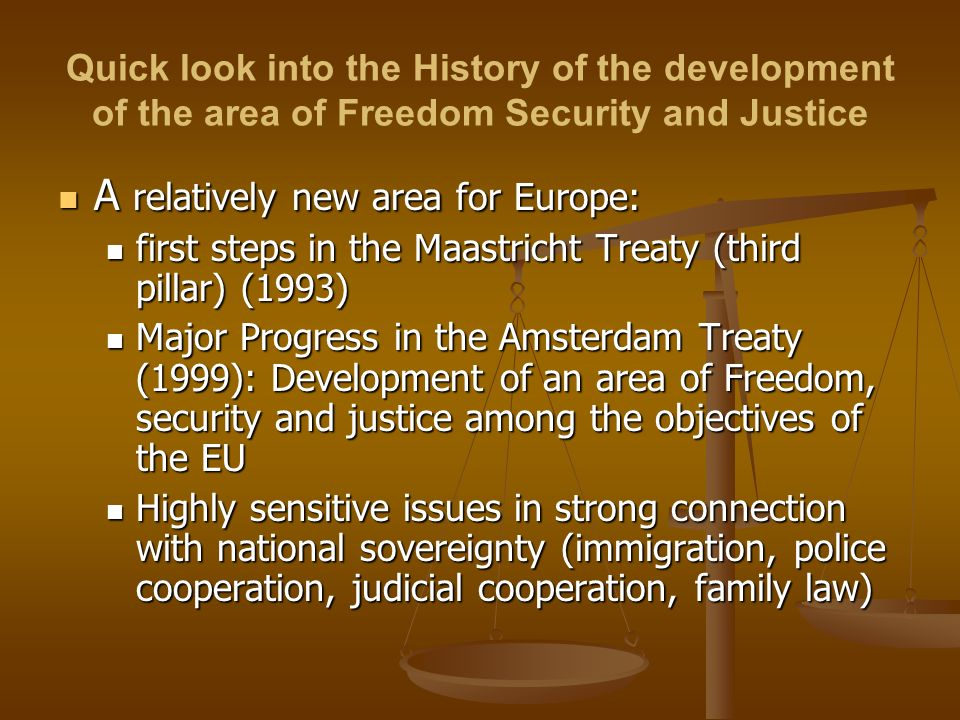 Quick look into the History of the development of the area of Freedom Security and Justice A relatively new area for Europe: A relatively new area for Europe: first steps in the Maastricht Treaty (third pillar) (1993) first steps in the Maastricht Treaty (third pillar) (1993) Major Progress in the Amsterdam Treaty (1999): Development of an area of Freedom, security and justice among the objectives of the EU Major Progress in the Amsterdam Treaty (1999): Development of an area of Freedom, security and justice among the objectives of the EU Highly sensitive issues in strong connection with national sovereignty (immigration, police cooperation, judicial cooperation, family law) Highly sensitive issues in strong connection with national sovereignty (immigration, police cooperation, judicial cooperation, family law)