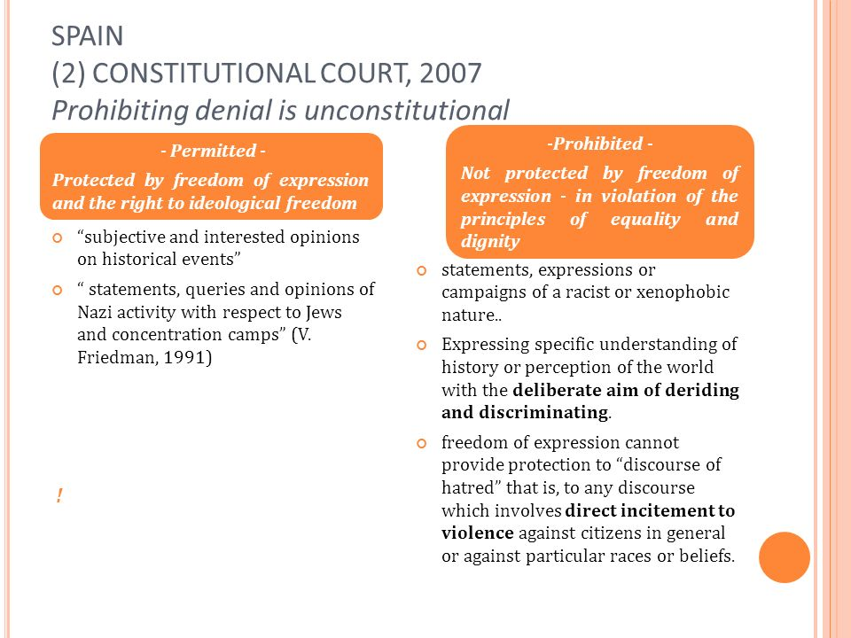 SPAIN (2) CONSTITUTIONAL COURT, 2007 Prohibiting denial is unconstitutional subjective and interested opinions on historical events statements, queries and opinions of Nazi activity with respect to Jews and concentration camps (V.