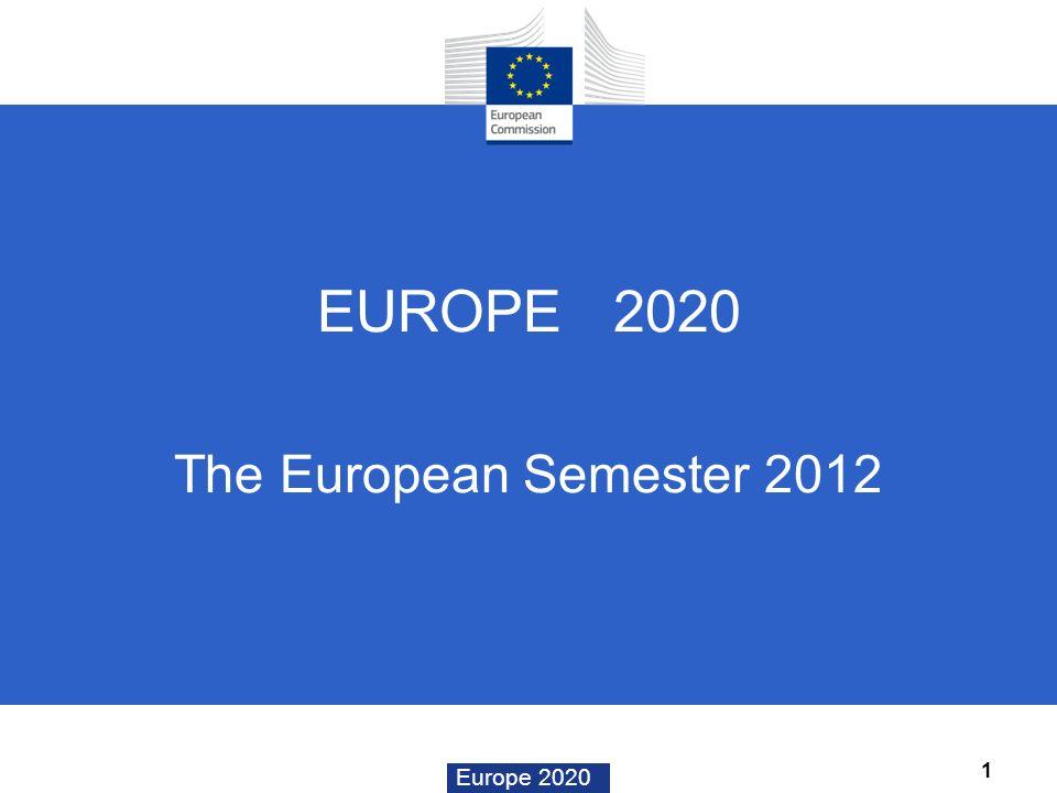 Europe 2020 EUROPE 2020 The European Semester 2012 1