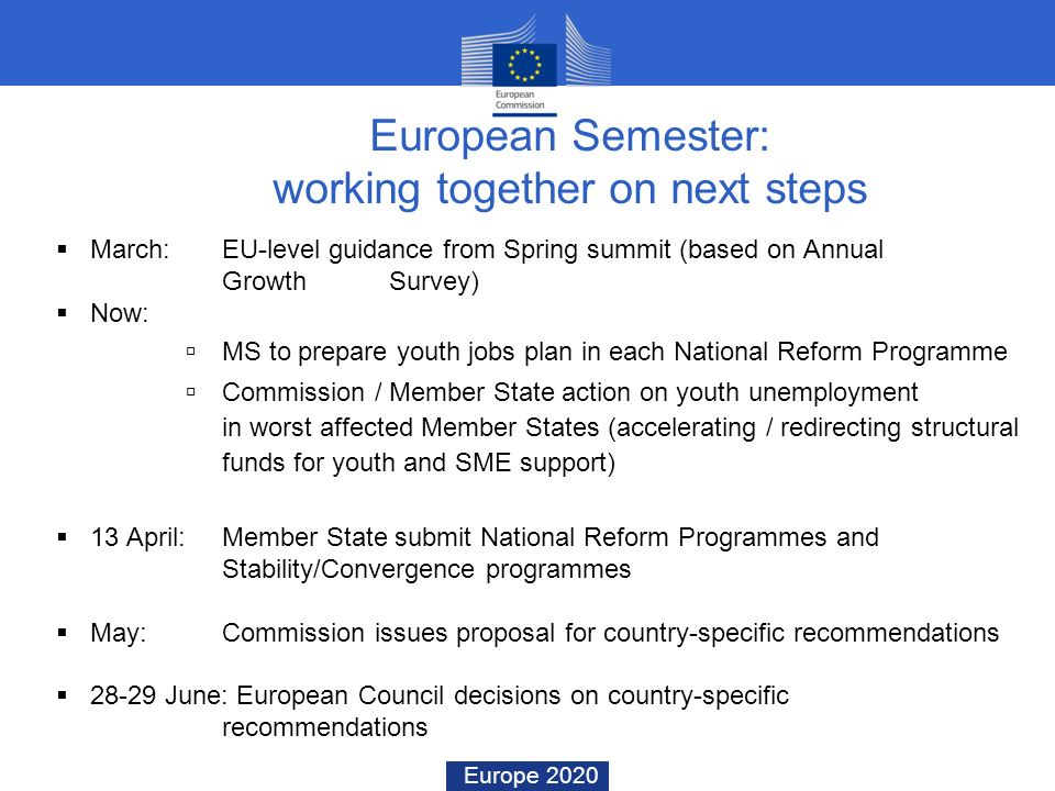 Europe 2020 March: EU-level guidance from Spring summit (based on Annual Growth Survey) Now: MS to prepare youth jobs plan in each National Reform Pro
