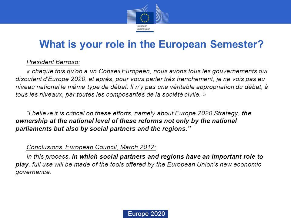 Europe 2020 What is your role in the European Semester? President Barroso: « chaque fois qu'on a un Conseil Européen, nous avons tous les gouvernement