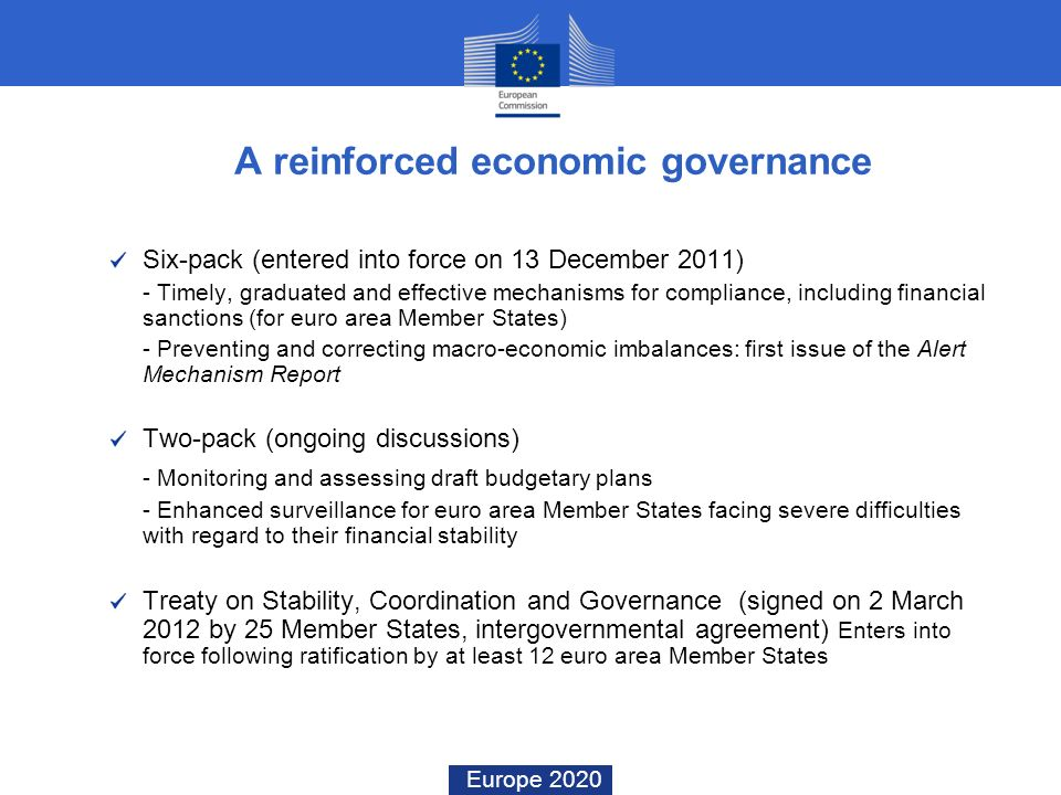 Europe 2020 A reinforced economic governance Six-pack (entered into force on 13 December 2011) - Timely, graduated and effective mechanisms for compli