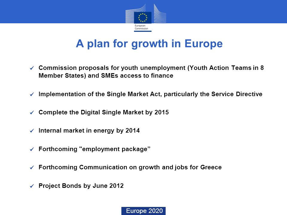 Europe 2020 A plan for growth in Europe Commission proposals for youth unemployment (Youth Action Teams in 8 Member States) and SMEs access to finance