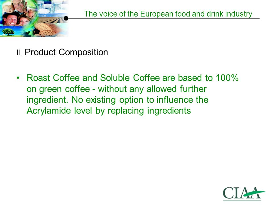 The voice of the European food and drink industry Roast Coffee and Soluble Coffee are based to 100% on green coffee - without any allowed further ingredient.