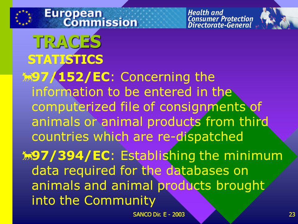 SANCO Dir. E - 200322 STATISTICS TRACES 94/360/EC: On the reduced frequency of physical checks of consignments of certain products to be implemented f