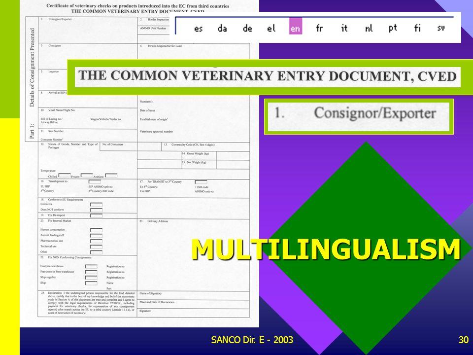 SANCO Dir. E - 200329 PROVISION OF STATISTICS 94/360/EC 97/794/EC 97/394/EC 97/152/EC