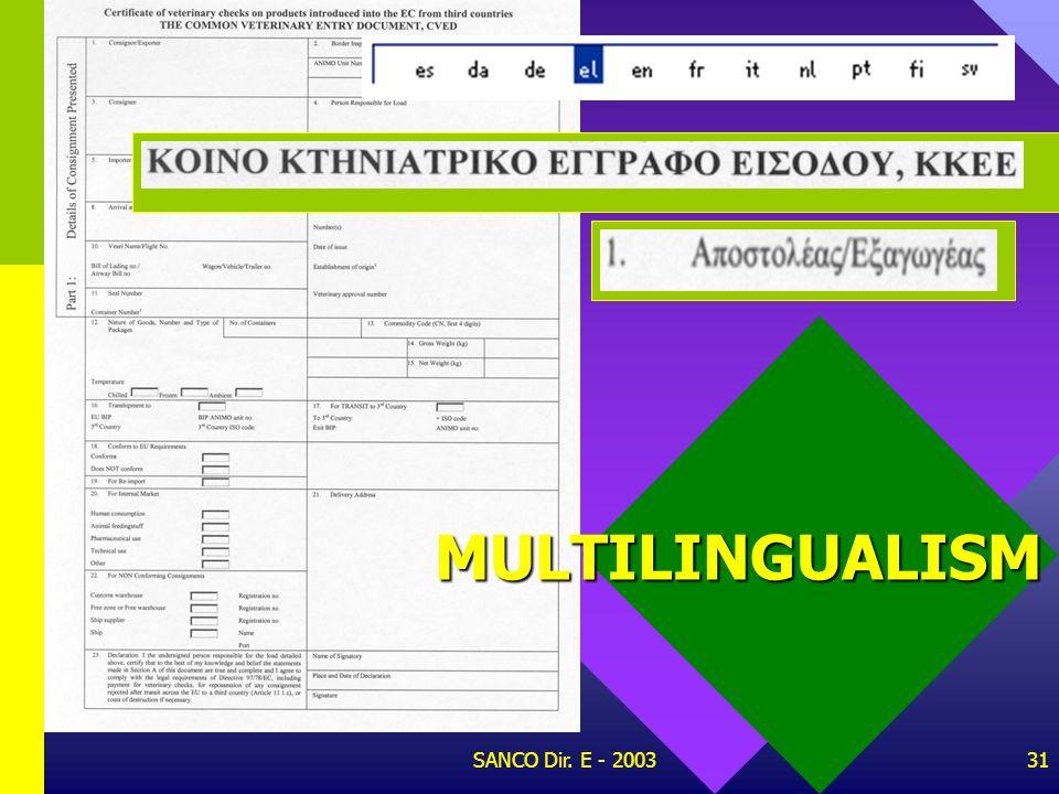SANCO Dir. E - 200330 MULTILINGUALISM