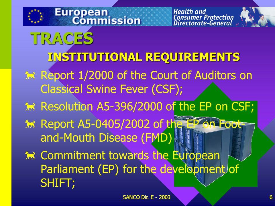 SANCO Dir. E - 20035 TRACES 92/438/EEC: Council Decision of 13 July 1992 on computerisation of veterinary import procedures (Shift project) 92/563/EEC